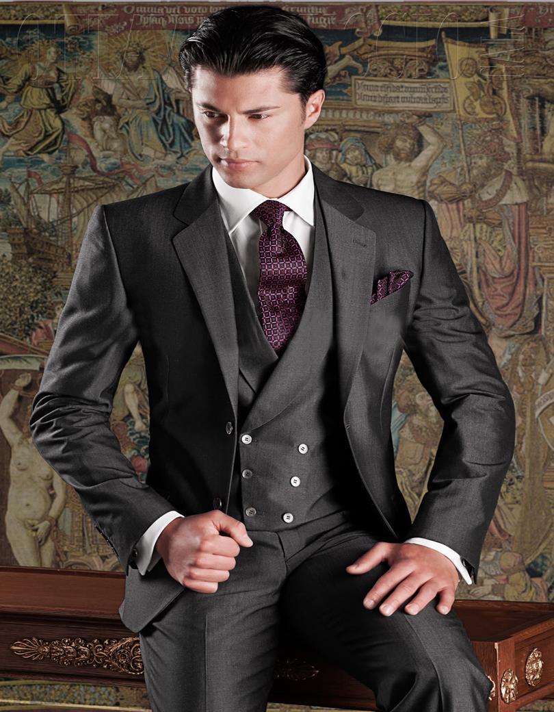 Wholesale - Mohair Alpaca 블렌드 웨딩 수트 (진한 회색 맞춤) Groom Tuxedos Groomsman Suit 웨딩 드레스 (자켓 + 바지 + 조끼)