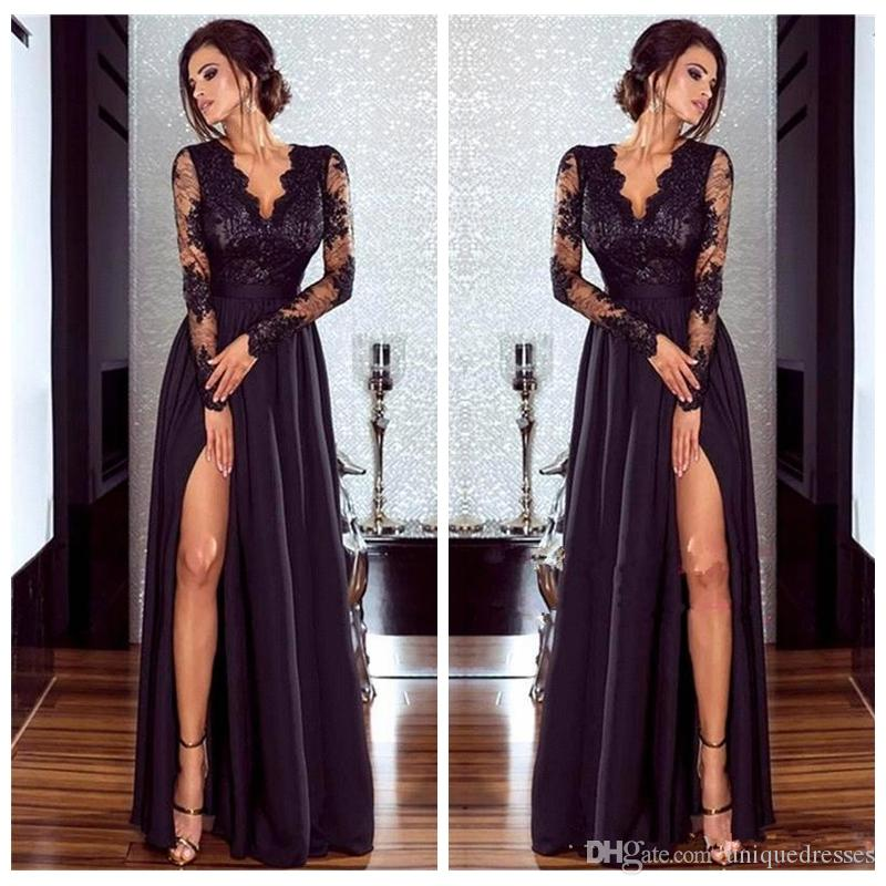 2018 Sexy V Neck Black Dresses Evening Wear Lace Appliques Side Split A Line Prom Party Dress Formal Gowns