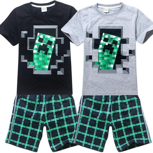 2019 2015 Big Boys Minecraft Creeper Outfit Children Cotton Sets Kids Short Sleeves T Shirt Plaid Shorts Suits Clothing Costume Gmy From Sarababy