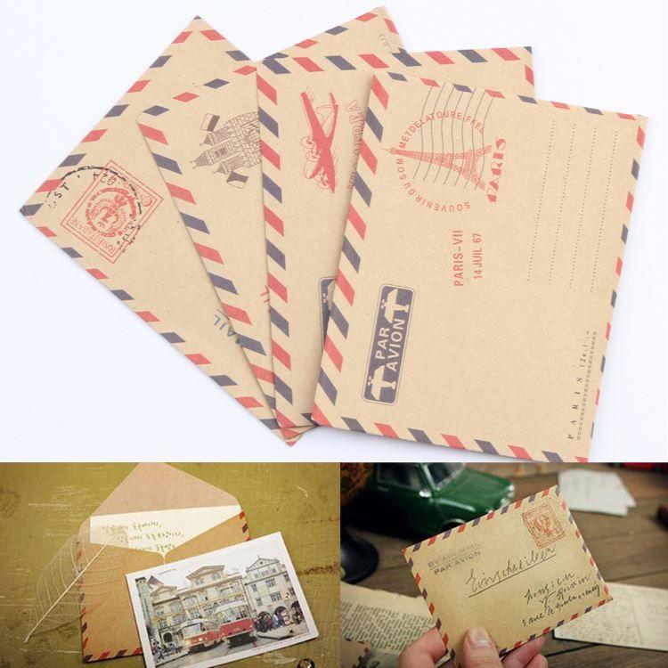 10 hojas Mini Sobre Postal Postal Papel de almacenamiento estacionario Airmail Vintage Office Suministros Gota Envío OSS-0093
