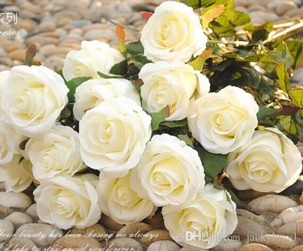 Nueva llegada Artificial Rose seda artesanía nupcial flores ramo de flores para la boda decoración de la habitación en casa 10 color envío gratis