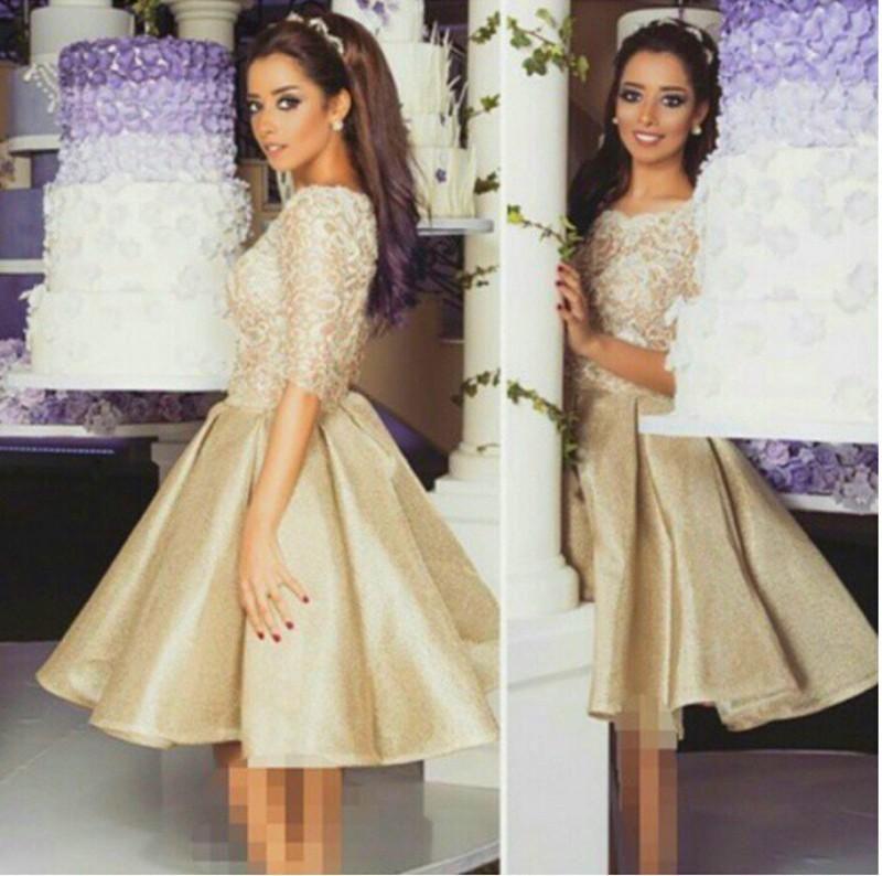 2016 Hot Sale Billiga Homecoming Klänningar Half Sleeve Lace A Line Prom Gown Crew Neck Ruffle Party Dress Custom Gjorda Special Occasion Dress
