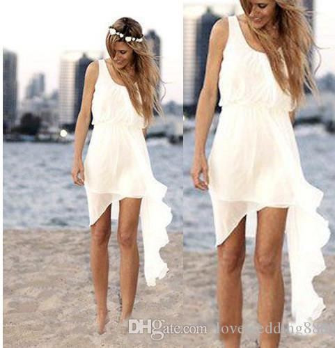2019 ivoire en mousseline de soie pas cher robes de mariage à la plage simples conception asymétrique col rond robes de mariée d'été jupe décontractée