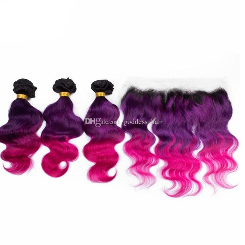 Ombre Color 1B Purple Pink Hair 3Bundles Con encaje Frontal Cierre Top Lace Frontal 13x4 Con Body Wave Virgin Hair Weaves 4Pcs
