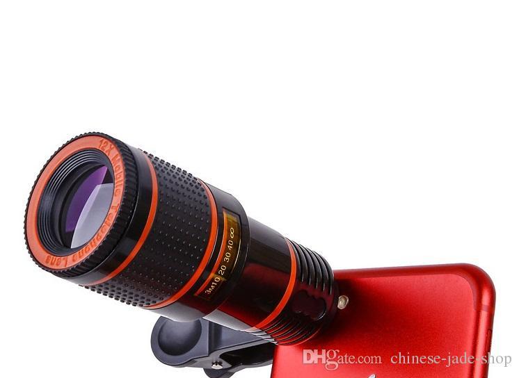 Universal 12x zoom óptico telescópio lente de câmera telescópio telescópio para telefone inteligente no pacote de varejo 30pcs / lote