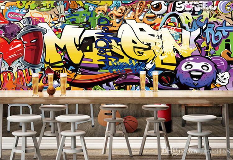 Acheter Haute Qualité Personnalisé Murales Papier Peint Moto Street Art Graffiti Mural Décorations Murales Salon Moderne Peinture Murale De 32 17 Du