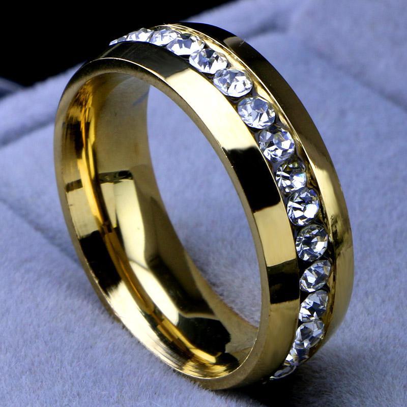 Groothandel mode hot fabriek prijs 316L roestvrij stalen kristal trouwringen voor vrouwen mannen topkwaliteit 18K vergulde heren ring