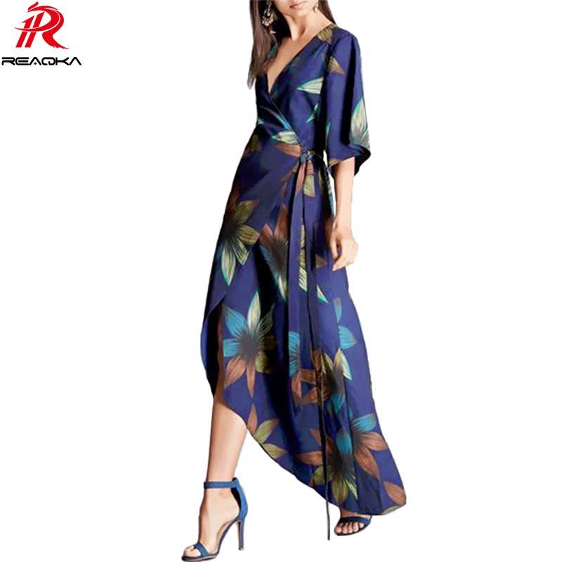 Sexy Frauen lange Kleid Maxi heißer verkauf 2017 Frühling Sommer Russische Asymmetrie Stil Print Kleider Lange Bodenlangen Elegante vestidos q1113