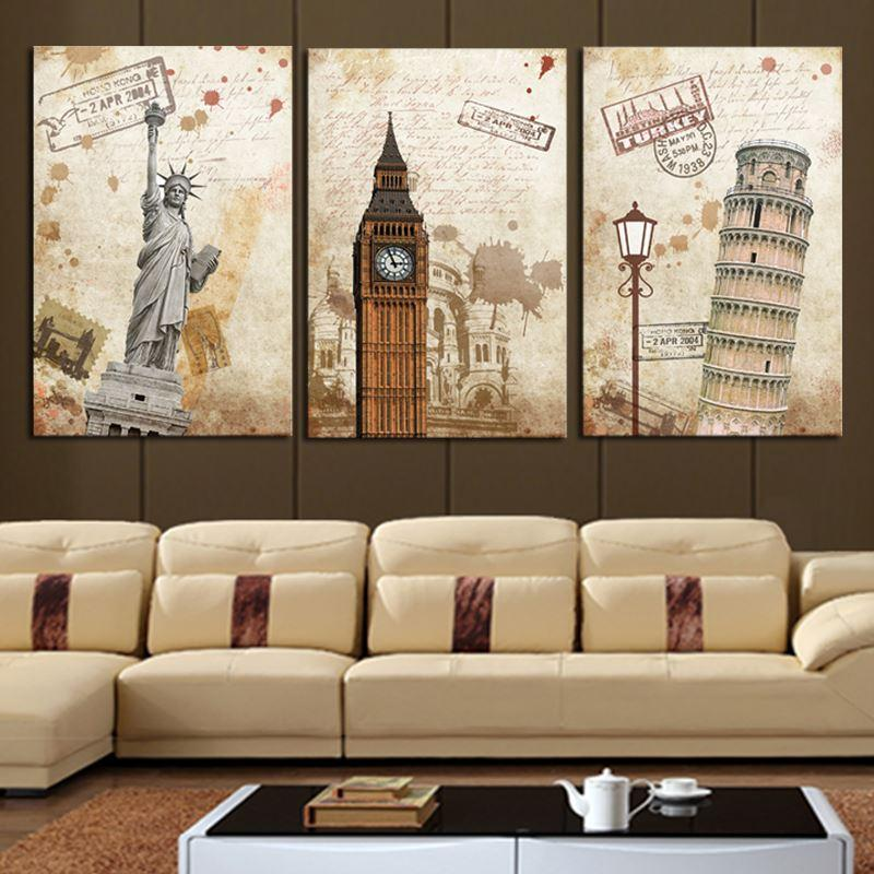 3 Pcs Wall Art Modern The City Landscape HD Picture Home Decoration Living Room Canvas Print Oil Painting Canvas Picture