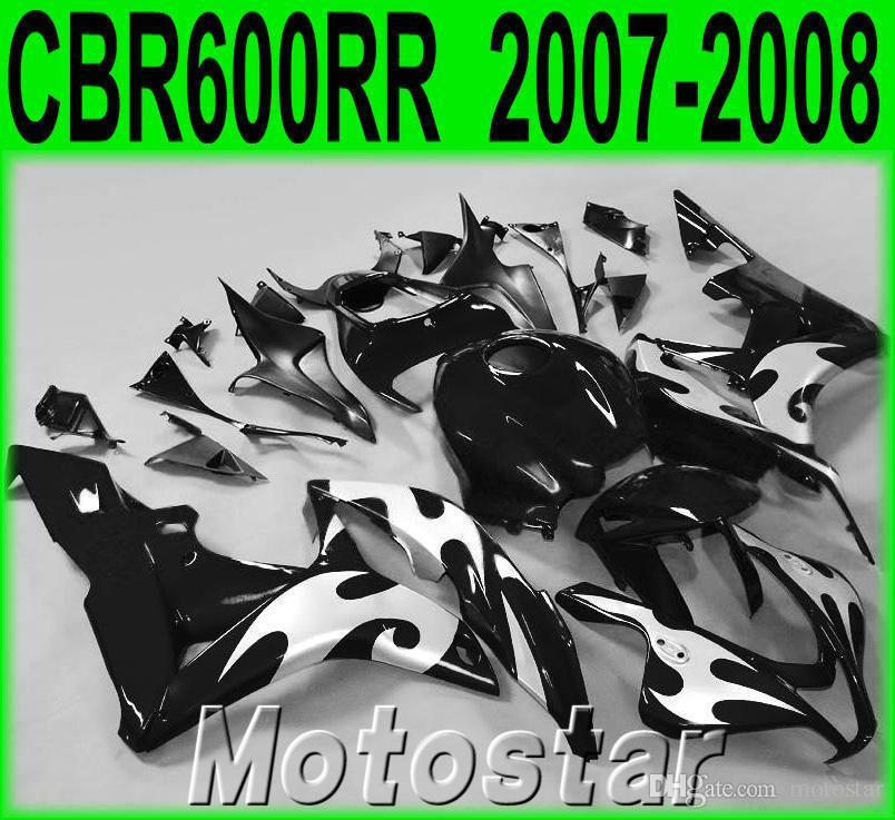 Personalizar kit de carenado de la motocicleta para HONDA Inyección CBR600RR 2007 2008 carenados CBR 600RR F5 07 08 llamas de plata conjunto negro KQ94