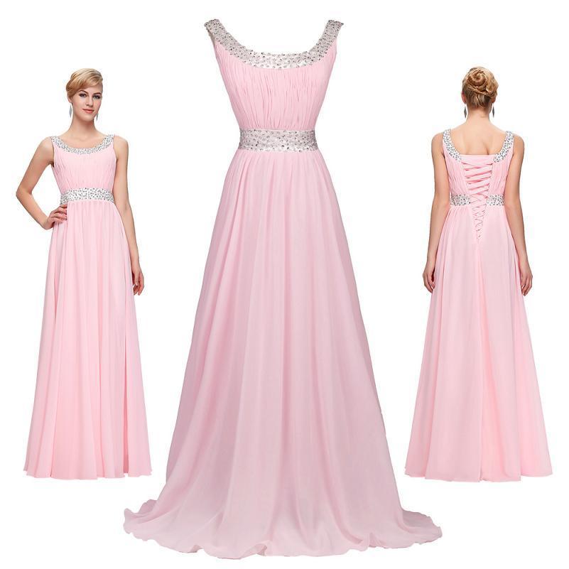 Compre 2016 Grace Karin Rosa De Cuello Uva Gasa Vestidos De Fiesta ...