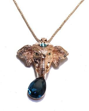 maravilhoso ouro elefante azul colar de cristal gota da senhora (xysppfh)