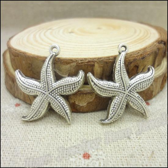 Ücretsiz kargo! 38 adet Antik gümüş Takılar Denizyıldızı Kolye Fit Bilezikler Kolye DIY Metal Takı Yapımı