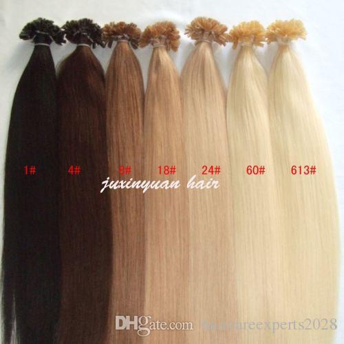 Extensão de cabelo de ponta plana 1g / s 100s / lote # 1 # 1b # 2 # 4 # 6 # 99j # 613 # 24 # 27 keratin