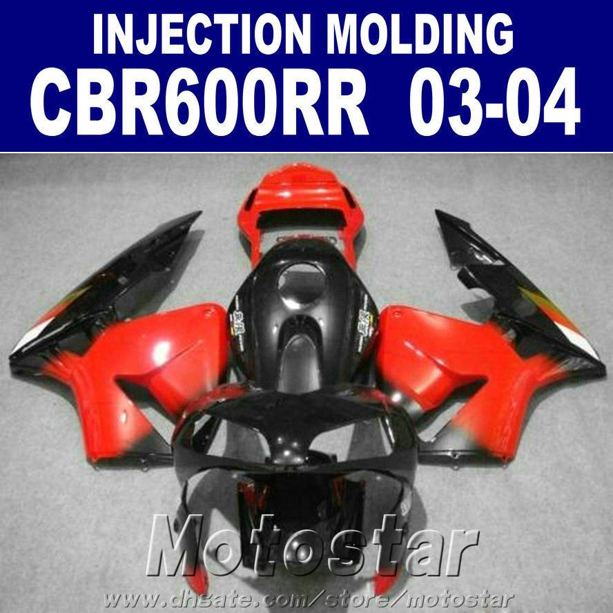 HONDA CBR için 100% Enjeksiyon Kalıplama kırmızı siyah set 600RR kaporta 2003 2004 cbr600rr 03 04 kaporta parçaları HXDR