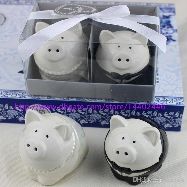 10 zestawów Nowy Czarno-biały Kolor Piggy Bride Fornal Salt Pepper Shaker Shakers Wedding Favor Bridal Prysznic Prezenty