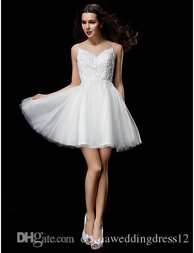 2016 New Hot Fashion Free Shipping Elegant Ball Gown Ivory Short/Mini Jewel Appliques Buttons Back Tulle Wedding Dresses 145