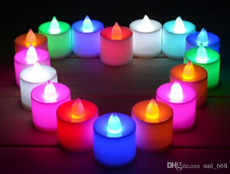 تغيير لون ملون فلاش LED شمعة عيد ميلاد شمعة الجملة البلاستيك الصمام أضواء الشموع الموصى بها
