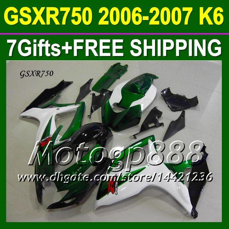 7gifts + Verkleidung Fit SUZUKI 06 07 Grün K6 GSXR750 Frei Kundenspezifisch P10452 GSXR 750 Grün Weiß Schwarz GSX-R750 2006 2007 GSXR-750 Verkleidungskits