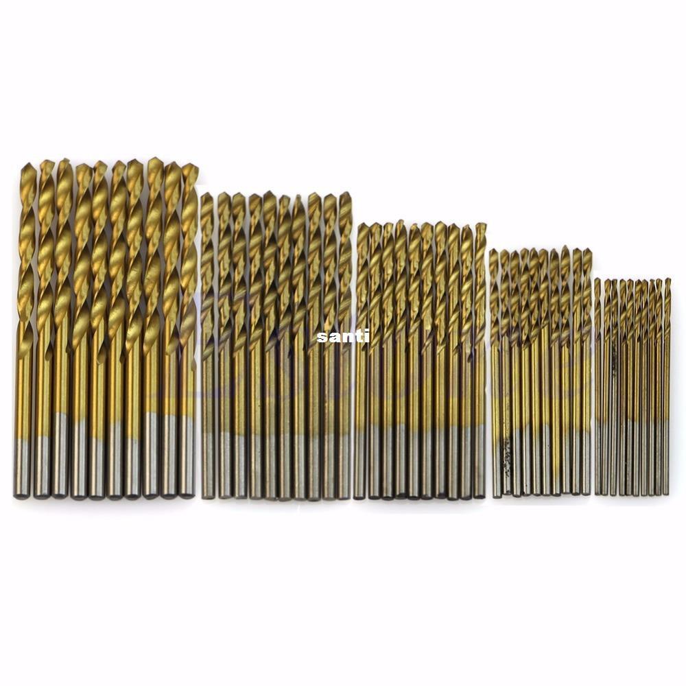 50 جهاز كمبيوتر شخصى / الكثير التيتانيوم المطلي HSS عالية السرعة الصلب مثقاب مجموعة أداة 1 / 1.5 / 2 / 2.5 / 3mm