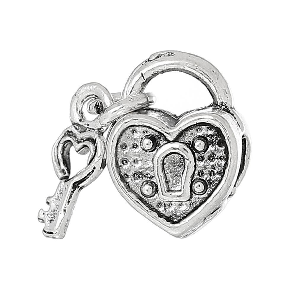 قفل مفتاح الخرز الأوروبي على شكل قفل مفتاح فضي عتيق حوالي 10 ملم ، ثقب حوالي 4.5 سم ، 20 قطعة 2015 جديد