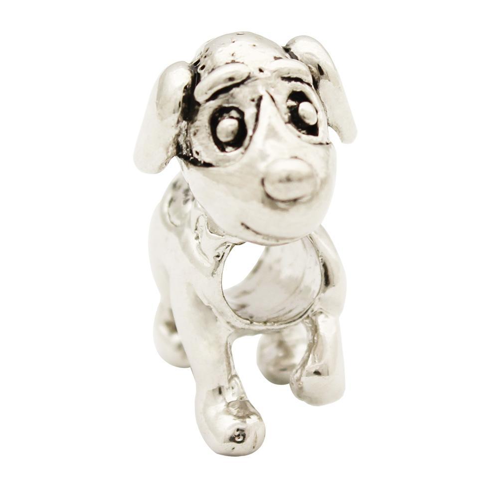 Оптом и в розницу Rhdodium Покрытие животных Собака Европейский Шарм Spacer металла из бисера Fit Pandora браслет
