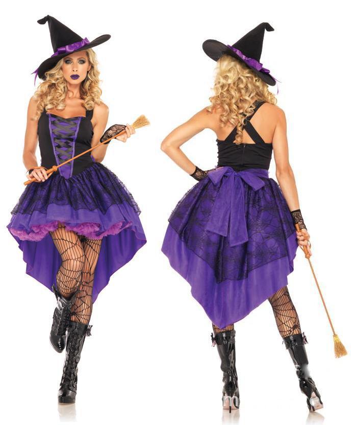 Halloween del traje de Halloween vestido de la manera púrpura de la bruja para la fiesta de Halloween Cosplay M-XL TAMAÑO para el envío libre