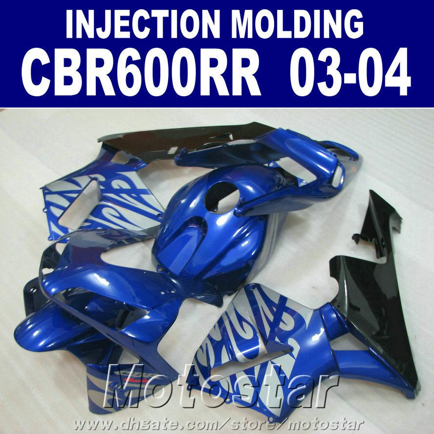 Injection Mold fairings kit for HONDA CBR 600RR 2003 2004 dark blue 03 04 CBR600RR ABS fairing set+Free cowl ORG4