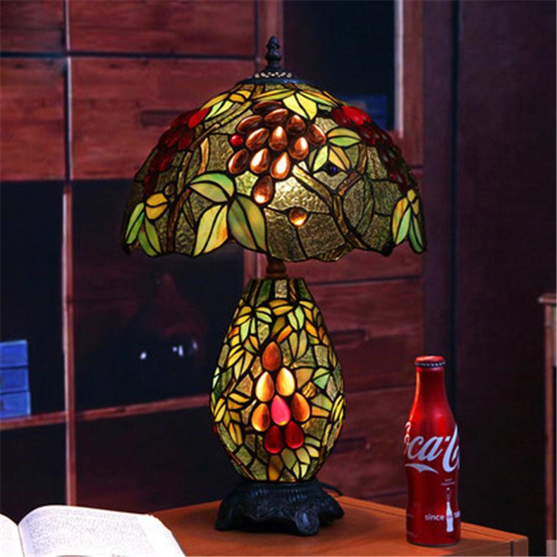 Creative Retro Glass Table lamp Vintage Garden Style Glass Table Lamp Fashion Bedside Lamp Creative Study Room Cafe Bar Lamps