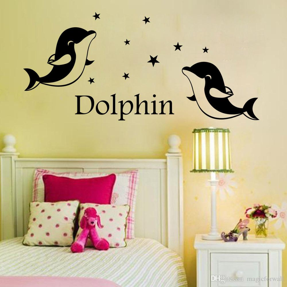 Wall decoration stickers for bedroom - Cute Dolphin Wall Art Decal Sticker Kids Room Nursery Wall Decoration Decal Bedroom Wall Mural Poster Decor