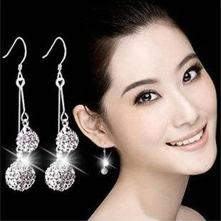 Silver Shamballa Drop Earrings Jewelry Austrian Crystal Dangle Earrings for Party Gift 6mm + 8mm Fashion Jewellery Wholesale - 0007WH