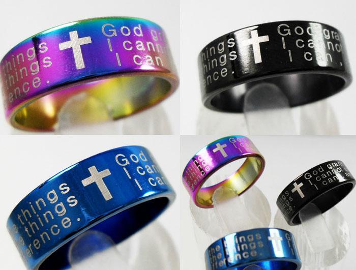 25 pcs Cor Mix Serenity Oração de Aço Inoxidável Cruz anéis Anéis de Moda Das Mulheres Dos Homens Por Atacado Religiosos Jesus Jóias Lotes