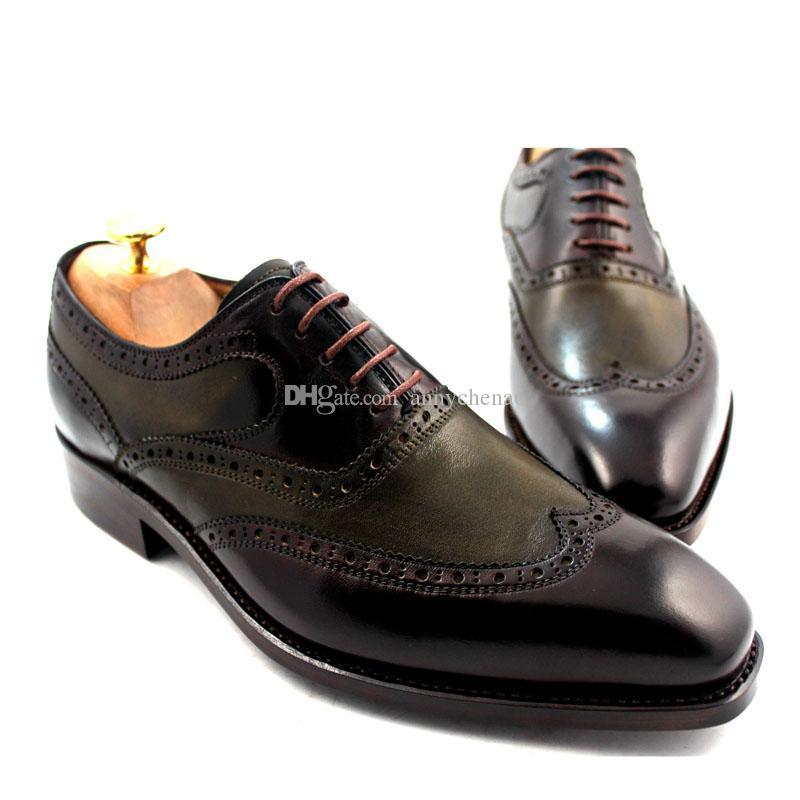 남자 드레스 신발 Oxfords 신발 사용자 정의 수 제 신발 남자 신발 정품 송아지 가죽 색상 짙은 갈색 HD-J028