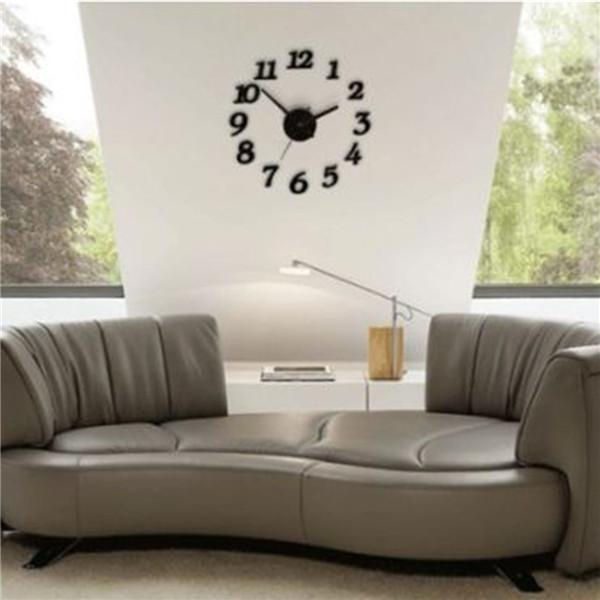 Sıcak satış Modern stil Marka Yeni Siyah 3D Duvar Saatleri Modern DIY Dijital İzle Duvar Sticker Saatler Ev Dekor sipariş $ 18no parça