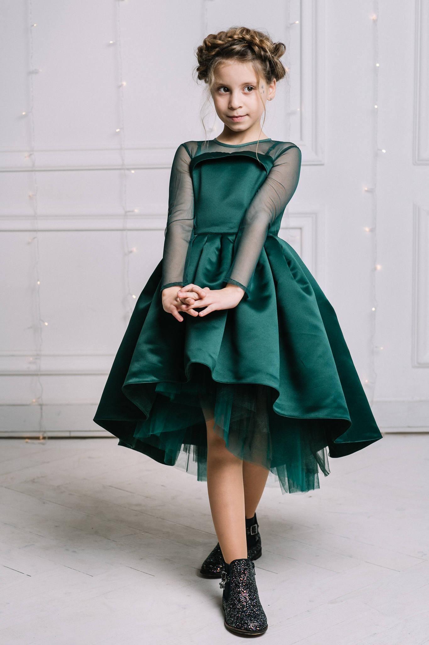 Compre Adorable Vestido Verde Esmeralda Corto Vestidos Para Adolescentes Diseño Hi Lo Mangas Largas Joya Niñas Vestido De Fiesta Cumpleaños Vestido De