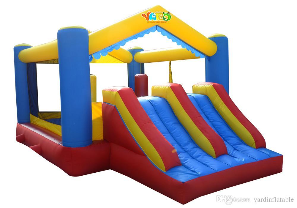 üfleyicisiyle YARD Çift slayt sıçrama ev şişme fedai combo atlama moonwalk şişme kale konut kullanım trambolin oyuncaklar