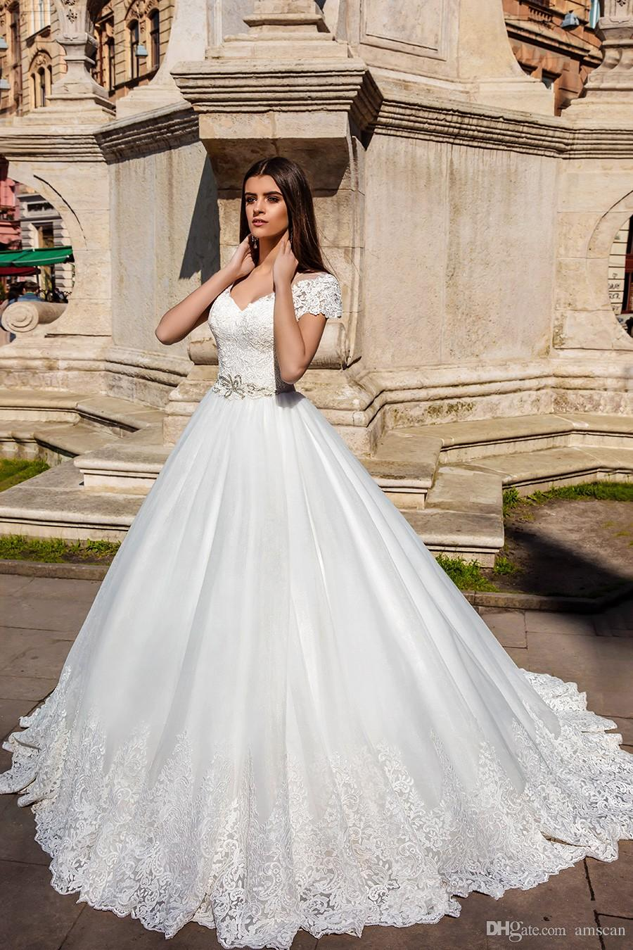 discount 2019 appliques lace a line wedding dresses elegant v neck tulle  bridal gowns short sleeve beading sash cheap wedding dress vestidos de  novia