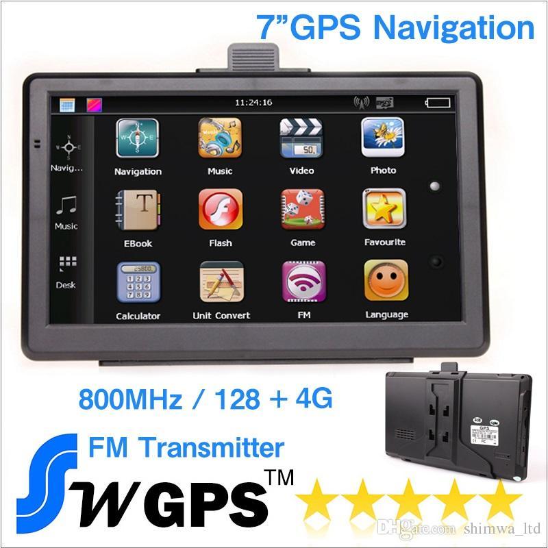 7 pollici GPS per auto Navigatore navigatore GPS wince 6.0 800 MHz 128 M 4G 800 * 480 FM tansmitter gratis USA europa newst maps