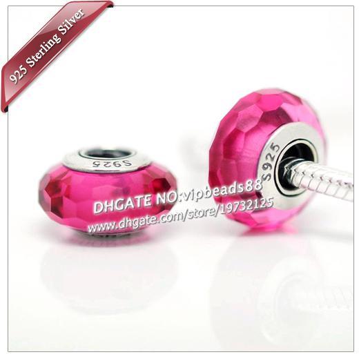 S925 gioielli moda in argento sterling perline di vetro di murano rosso rosa sfaccettato adatto europeo fai da te pandora collana di braccialetti di fascino