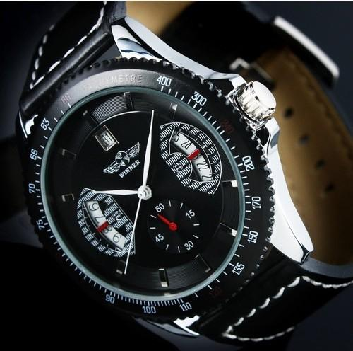 Fashion Winner Leather Band Stainless Steel Skeleton Mechanical Wrist Watches For Men Mechanical Self wind Luxury WristWatch