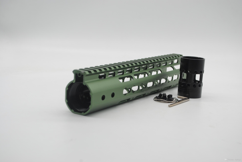 10 인치 인치 올리브 그린 아노다이징 초경량 Keymod 핸드 가드 레일 프리 플로팅 Picatinny 장착 시스템