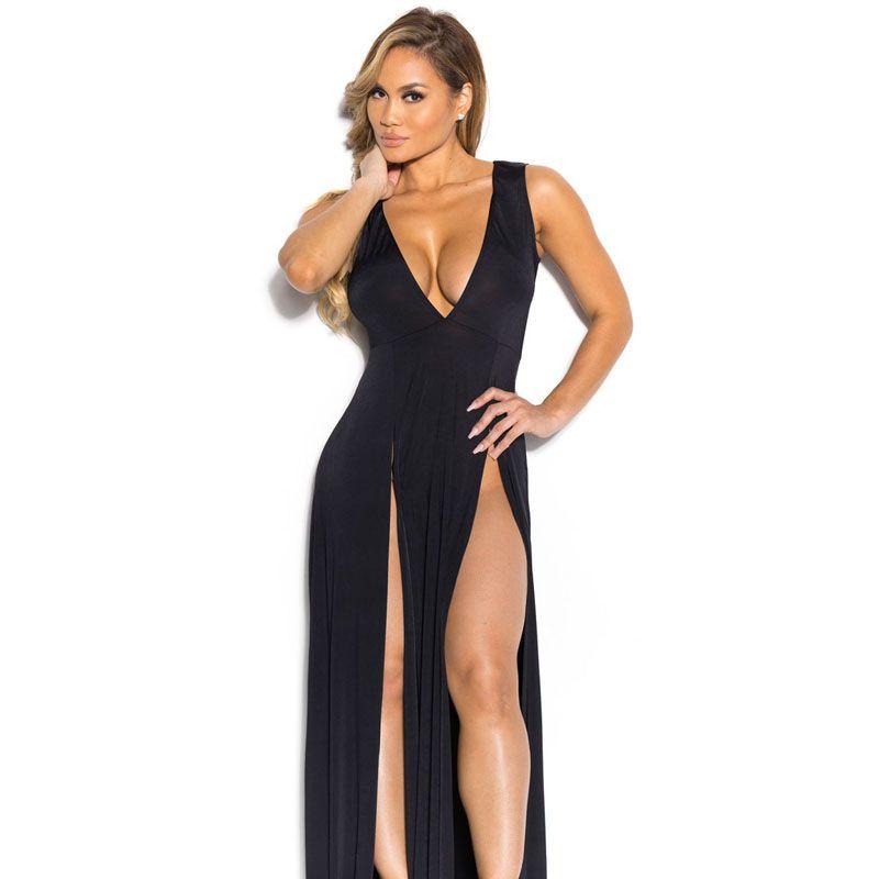 Vestidos 2017 Yaz Kadın Maxi Elbise Robe Seksi Kulübü Bayanlar Parti Elbiseler Derin V Sundress Bölünmüş Pembe Kırmızı Beyaz Siyah Uzun Elbise q1110