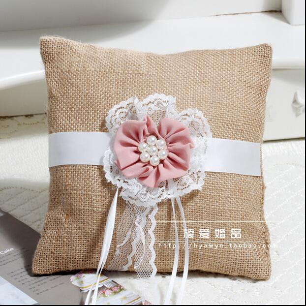 Hot Sell Cheap flaxen Ribbon Bridal Rings Pillows Garden Wedding Pearls Flower Ring Pillows Free Shipping