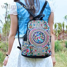 Venta al por mayor-Attra-Y! Mochila étnica nacional de lona hecha a mano flor Bolsa bordada Bolsas de viaje mochila escolar etnica LS5523