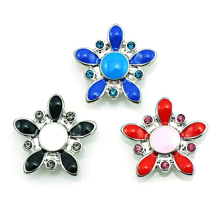 High Quantity 3 Color Snap Button Oils Flower 18mm Metal Clasp Button DIY Interchangeable Jewelry Accessories