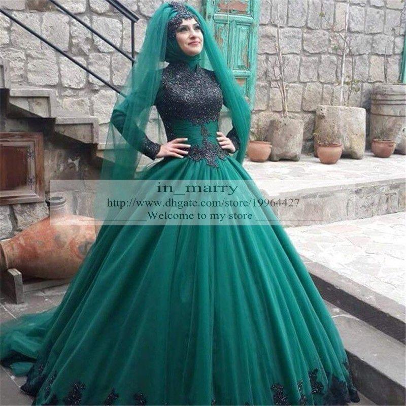 2016 Hunter Green Hijab Islamic Afghan Wedding Dresses Ball Gowns ...