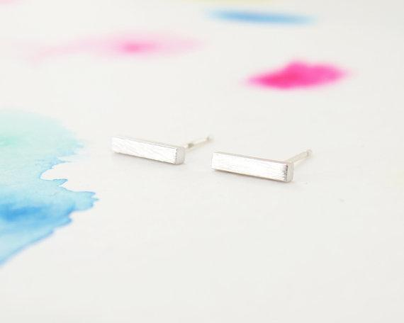 10Pair- S044 Gold Silver Metal Slim Bar Earrings Tiny Simple Bar Stud Earrings Cushion Rectangle Stick Earrings Stud for Women