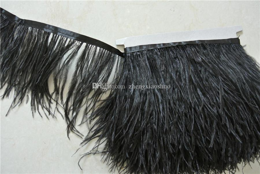 Free Shipping 10yards/lot Black ostrich feather trimming fringe on Satin Header 5-6inch in width for crafts