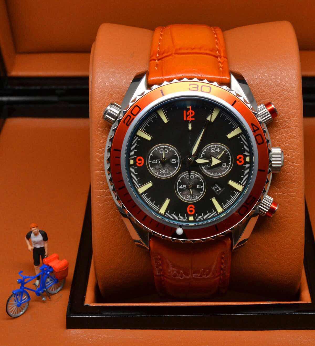 Big Discount Sports Chronographe Limited Montre Orange Bezel Noir Molette Quartz Prestronomique Dive Montre-Bracelet Pliant Arrêter des Hommes Montres