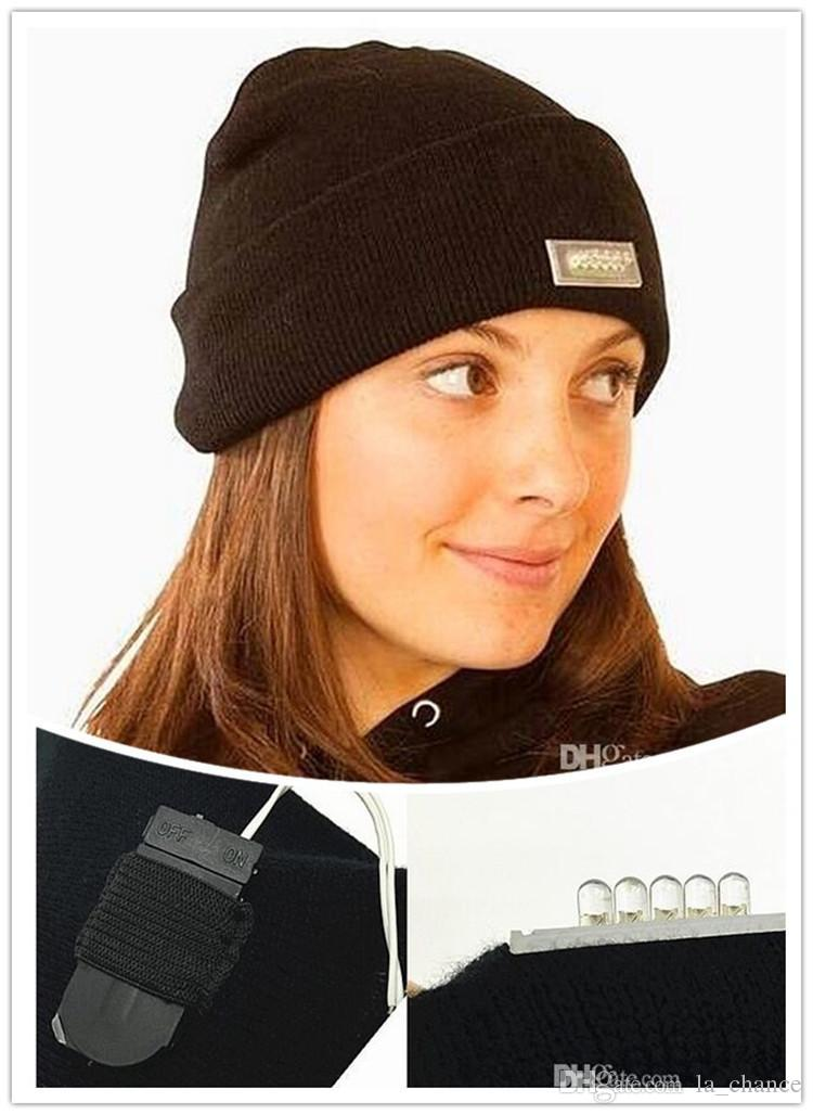 Fashion Black Beanie LED Glowing Knitted Caps with 5 Led Flash Light Novelty Led Hat for Hunting Camping Grilling Jogging Walking DHL Free
